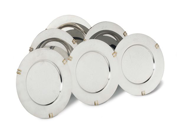Set of six silver plates, Cartier, Spanish manufacture for Cartier 1990