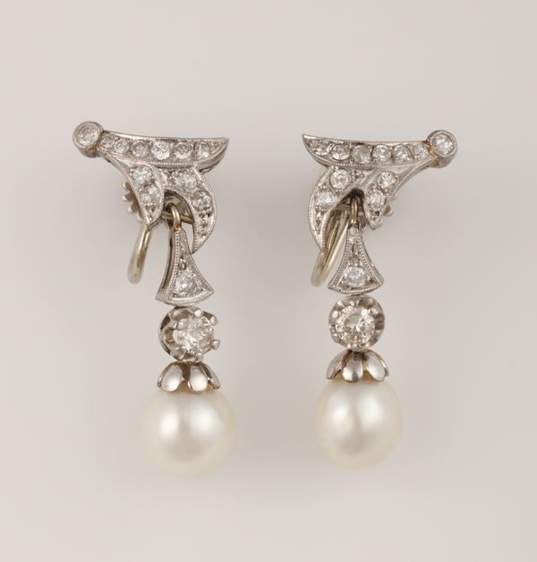 Pair of cultured pearl, diamond and platinum pendent earrings