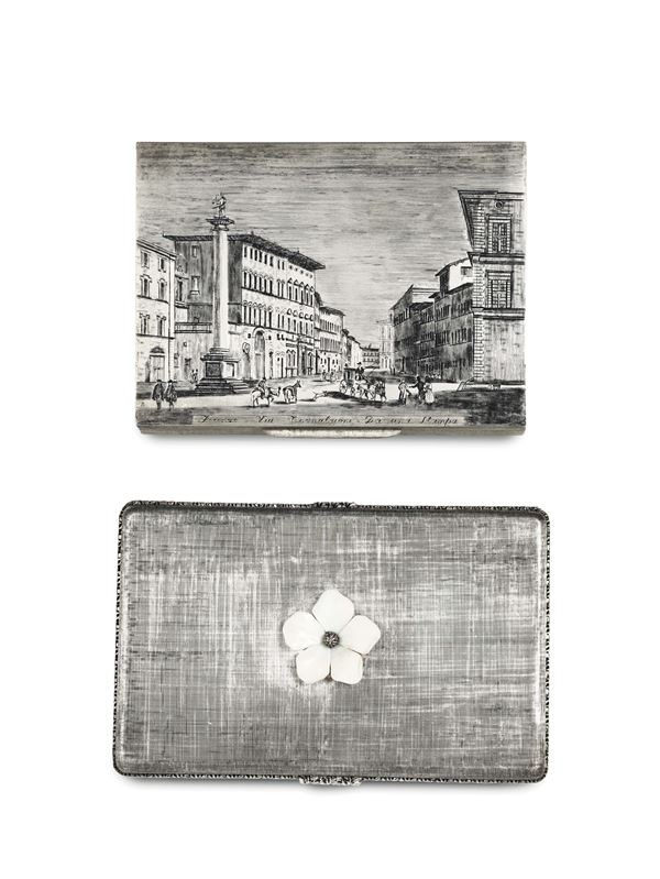 Two cigarette cases in molten, embossed and chiselled silver, Italy 20th century, silversmith Mario Bucellati
