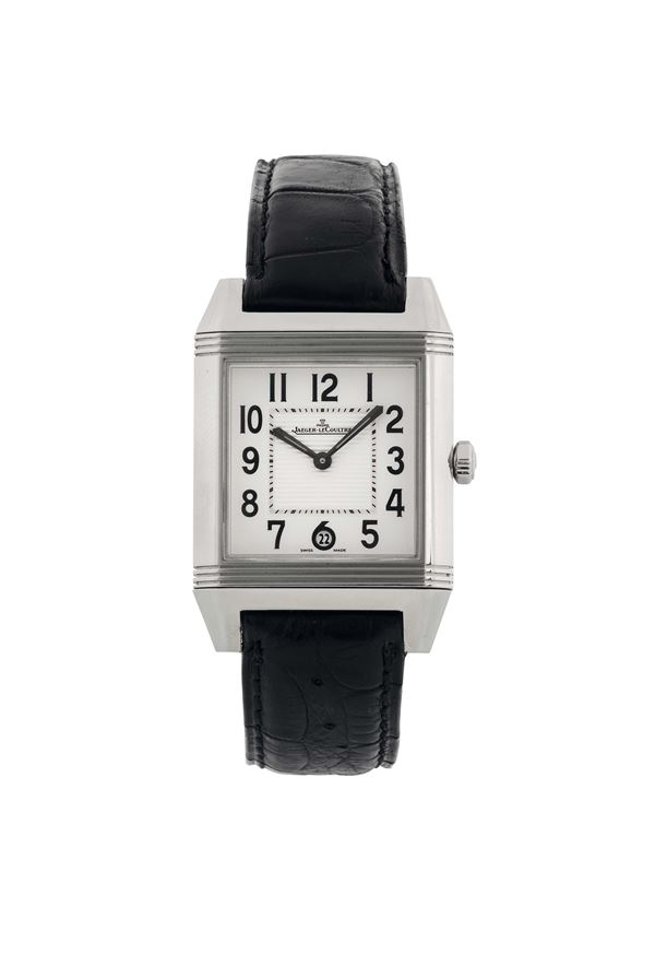 JAEGER LECOULTRE, Reverso Squadra - Automatic,  Ref. 234.8.66.  Fine,  rectangular, reversible, tself-winding, water resistant wristwatch with date and an original  Jaeger-LeCoultre  deployant clasp. Made circa 2008. Accompanied by the Guarantee.