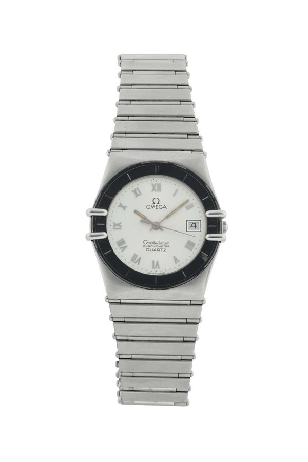 OMEGA, CONSTELLATION QUARTZ . Fine and rare, tonneau-shaped, center seconds, water-resistant, stainless steel  wristwatch with date and a stainless steel Omega link bracelet with concealed deployant clasp. Made circa 1970