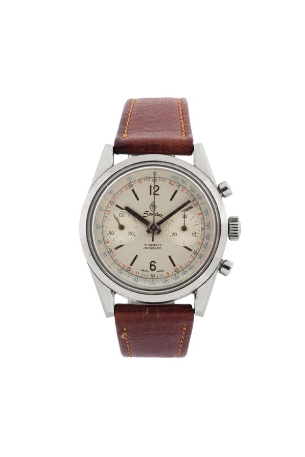 SANDOZ, water resistant, antimagnetic, stainless steel chronograph wristwatch. Made circa 1960