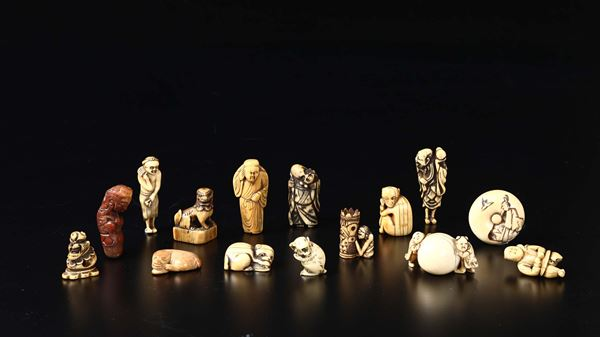 Fifteen carved ivory figures and animals, Japan, early 20th century