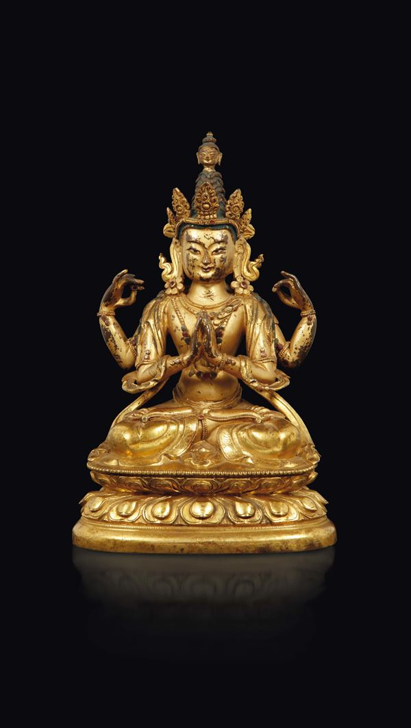 A gilt bronze figure of Amitayus seated on a double lotus flower, Tibet, 18th century