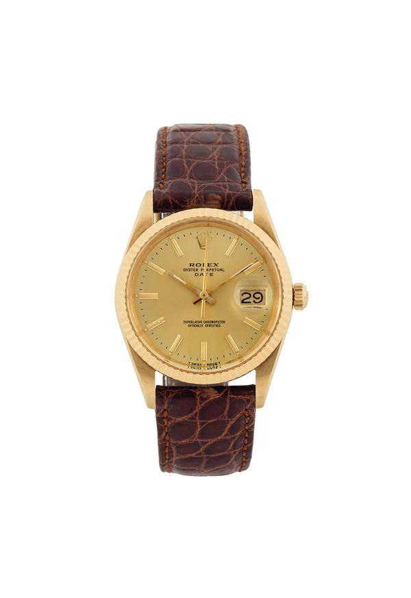 """ROLEX, """"Oyster Perpetual, Date, Superlative Chronometer Officially Certified"""", case No. 9397670, Ref. 15238. Fine, tonneau-shaped, center-seconds, self-winding, water-resistant, 18K yellow gold  wristwatch with date and a gold-plated Rolex buckle. Made circa 1986"""