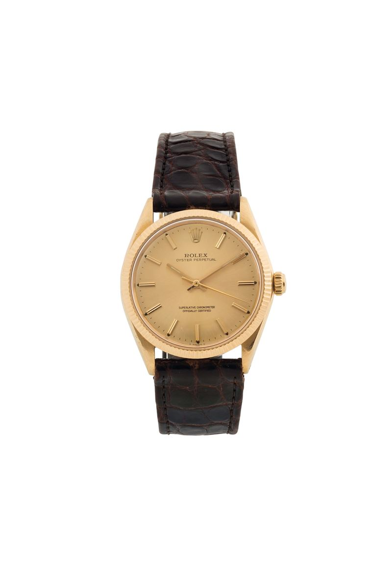 ROLEX, Oyster Perpetual, Superlative Chronometer, Officially Certified, case No. 1273003, Ref. 1005.  Fine, center seconds, self-winding, water-resistant, 18K yellow gold wristwatch with gold plated Rolex buckle. Made circa 1965  - Auction Watches and Pocket Watches - Cambi Casa d'Aste