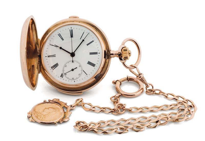 UNSIGNED, KEYLESS, HUNTING CASED, QUARTER REPEATER, 18K PINK GOLD  POCKET WATCH. Accompanied by a gold chain with coin engraved with Queen Victoria and San Giorgio (1890). Made circa 1900  - Auction Watches and Pocket Watches - Cambi Casa d'Aste