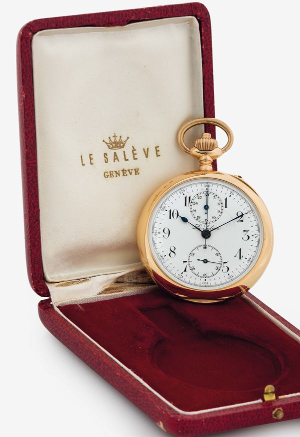 LE SALEVE, 18K yellow gold, open face,  keyless pocket watch with chronograph. Made circa 1900. Accompanied by the original box