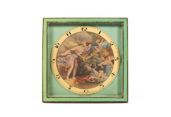 UNSIGNED, gilt brass table clock with enamels. Made circa in 1930