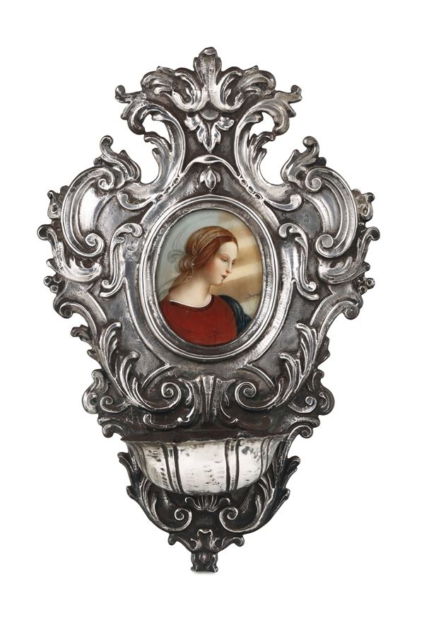 A holy water font in embossed and chiselled silver, Genova, Torretta stamp for the year 1771