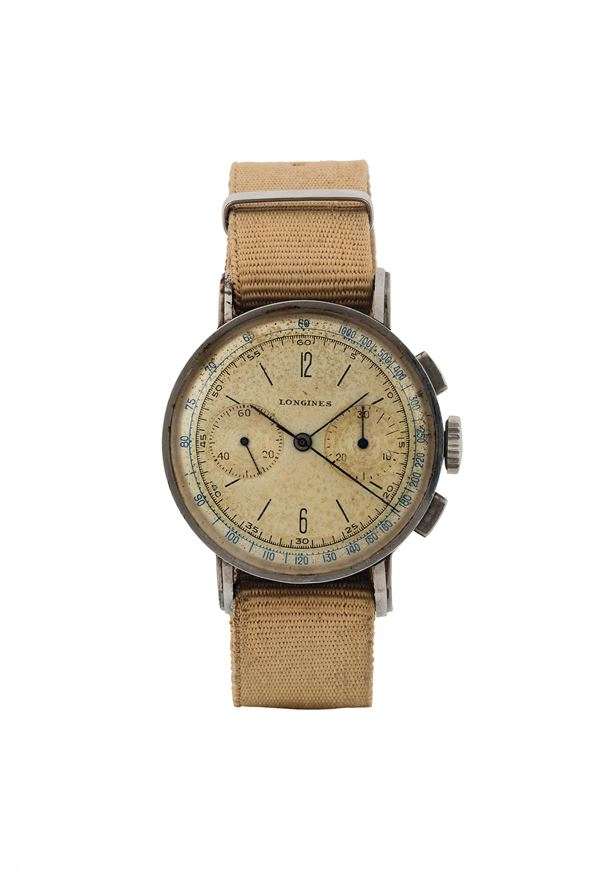 LONGINES, Ref. 22025, Cal. 13ZN, rare, stainless steel, chronograph  wristwatch with flyback. Made circa 1940