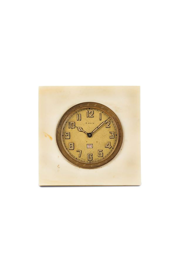UNSIGNED, 8 days, ivory cased small desk clock with date. Made circa 1920
