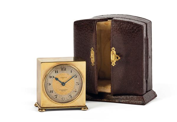 ZENITH, Eberhard Milan, small, gilt brass travel clock with alarm. Accompanied by the original leather box. Made circa 1930