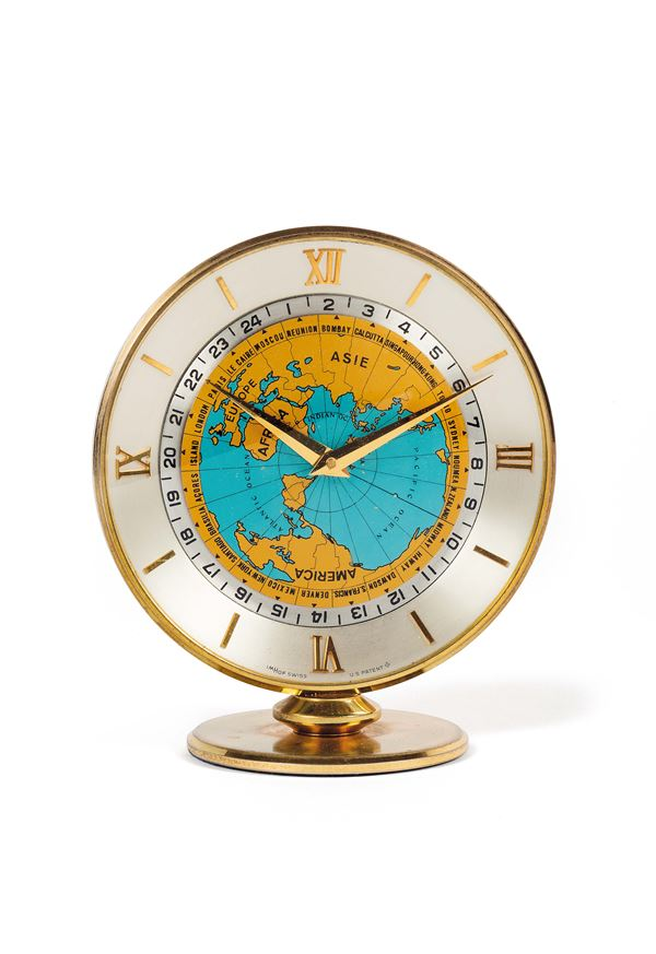 Imhof World Time Clock, Swiss, No. 1488361. Small, 8-day going world-time desk clock. Made circa 950