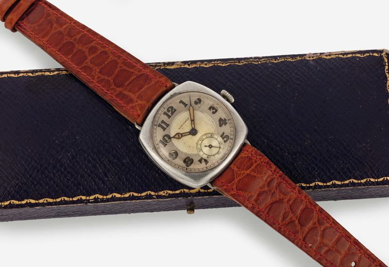 LONGINES, case No. 4194574, silver cushion wristwatch. Accompanied by a vintage box. Made circa 1920  - Auction Watches and Pocket Watches - Cambi Casa d'Aste