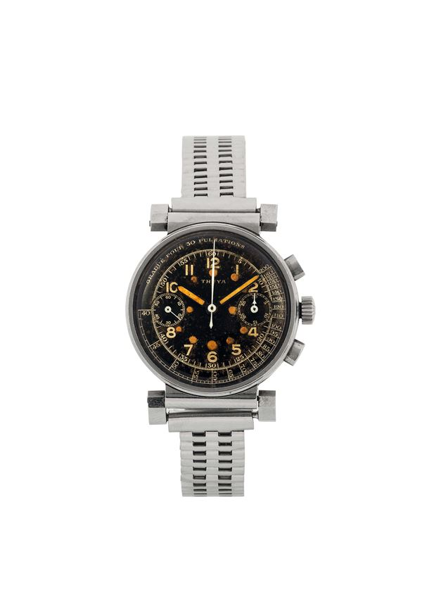 THUYA, stainless steel chronograph with register, pulsometer scale and original steel bracelet. Made circa 1940