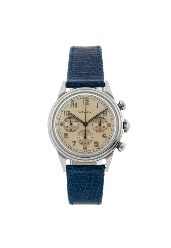 MOVADO, case No.19068, Ref.636, rare, stainless steel chronograph wistwatch with register and tachometer. Made circa 1950