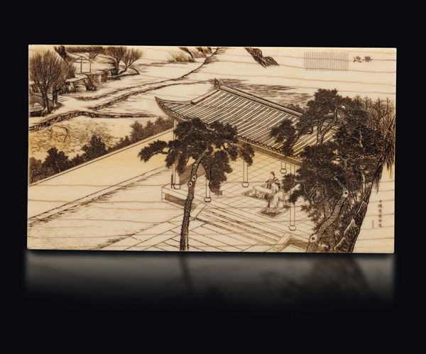 An ivory plaque depicting landscape with signature and inscription, China, Qing Dynasty, 19th century [..]