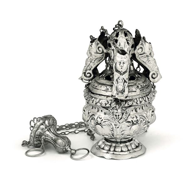 A thurible in embossed and chiselled silver, Italian manufacture, 18th century, mark for silversmith F.B. unidentified