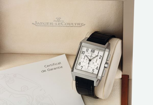 JAEGER LECOULTRE, REVERSO SQUADRA CHRONOGRAPH GMT STEEL, Ref. 230.8.45. Fine, large, rectangular and reversible, stainless steel, self-winding, water-resistant, two-time-zone wristwatch with square-button chronograph, registers, large double date and a stainless steel Jaeger LeCoultre double deployant clasp. Accompanied by a Jaeger-LeCoultre  box, Guarantee and Instruction manual. Made circa 2010