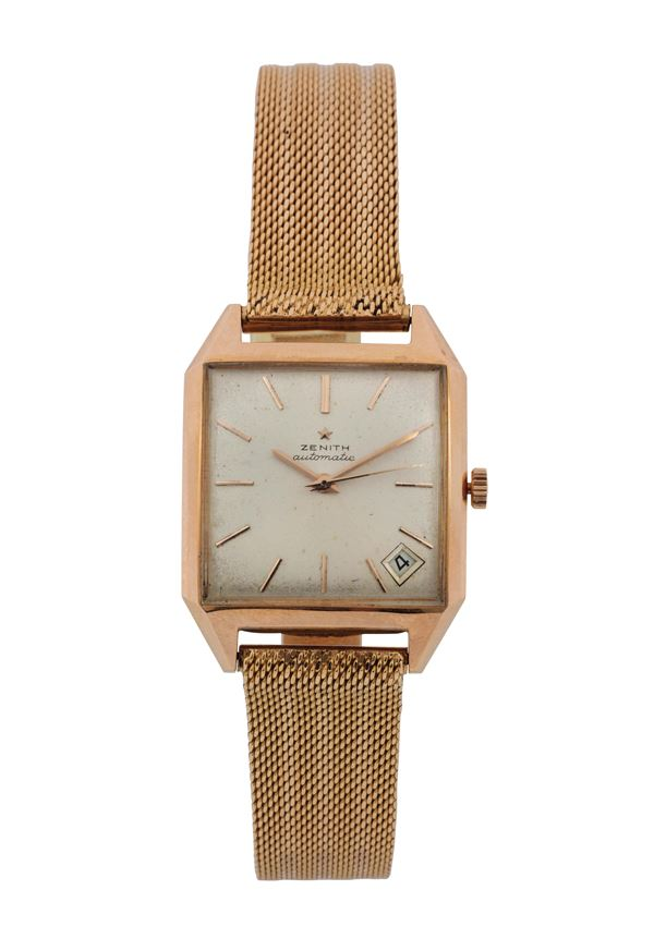 ZENITH, Automatic, self-winding, 18K yellow gold square wristwatch with date and gold bracelet. Made circa 1960