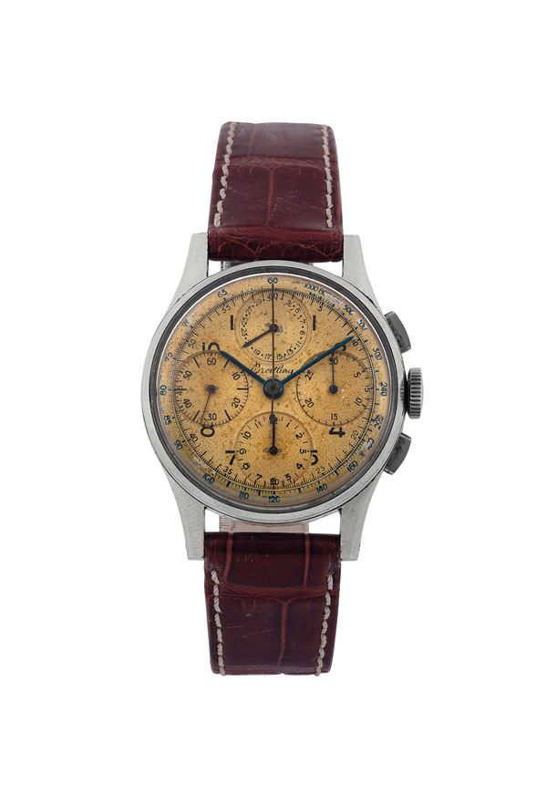 BREITLING, Ref.799, stainless steel wristwatch with tachometer and calendar. Made circa 1950