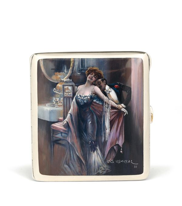 A cigarette case in silver and enamels, Germany 1910, signed Luis Usabal
