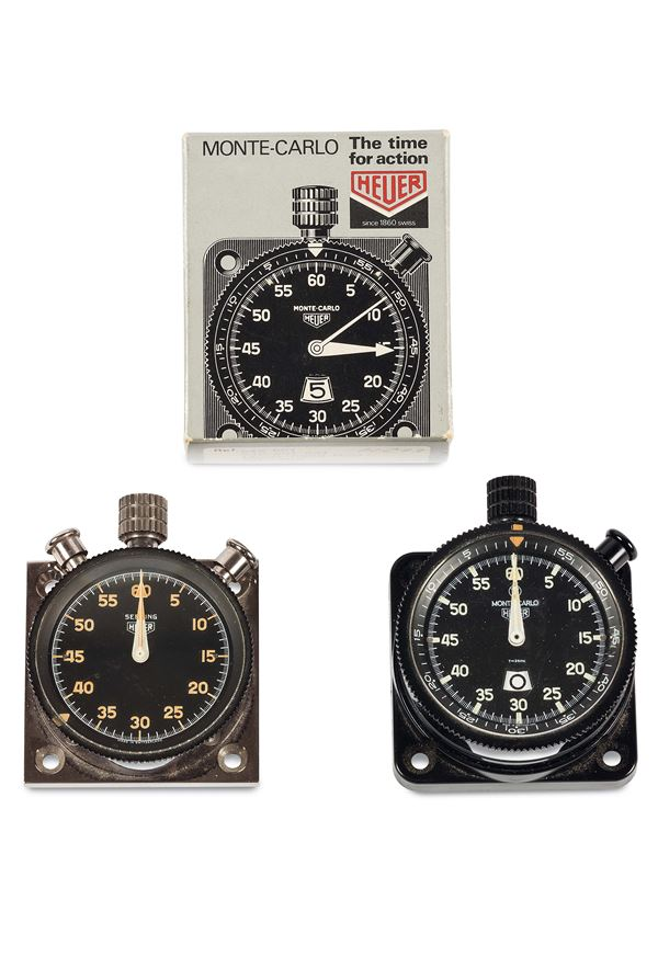 HEUER, SET OF TWO DASHBOARD CAR TIMERS . Accompanied by the Guarantee, box and tools for fixing in the car. Made circa 1980