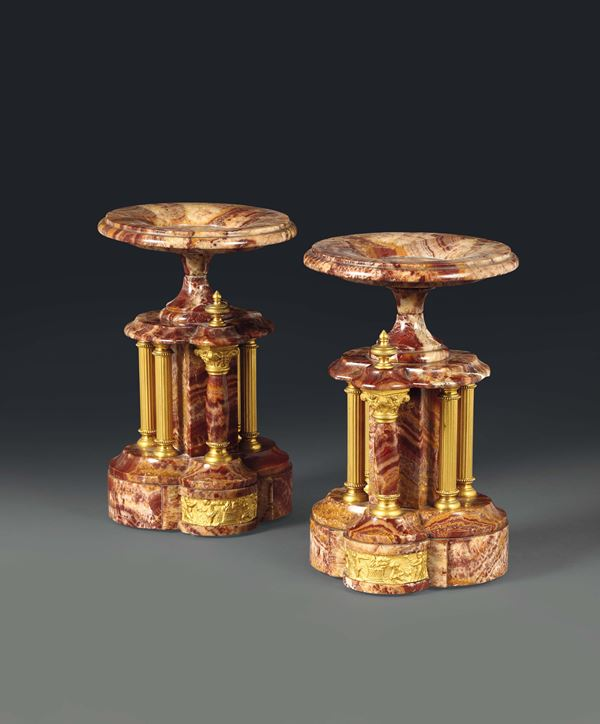 A pair of stands in marble and gilt bronze, France late 19th century