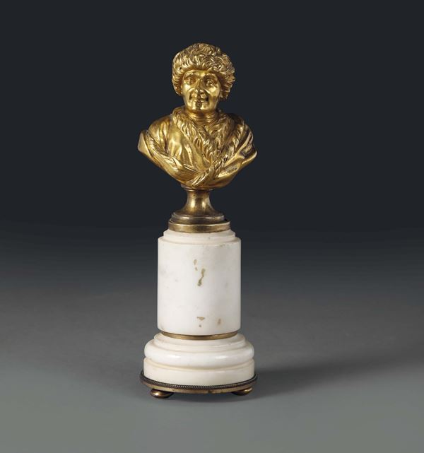 A bust of philosopher J.A. Rousseau in molten, chiselled and gilt bronze, France 19th century