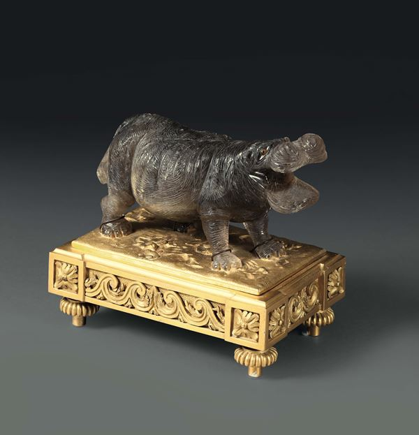 A hippo carved in grey quartz. Europe (Russia?), manufacture of the 19th - 20th century, likely by the  [..]