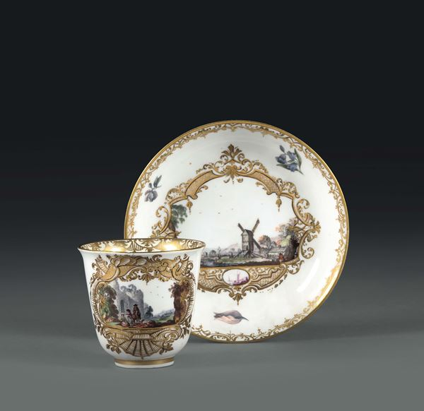 A cup and plate. Meissen, 1740 - 1745