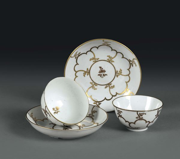 A pair of cups with plates. Venice, Cozzi manufacture, 1770 ca.