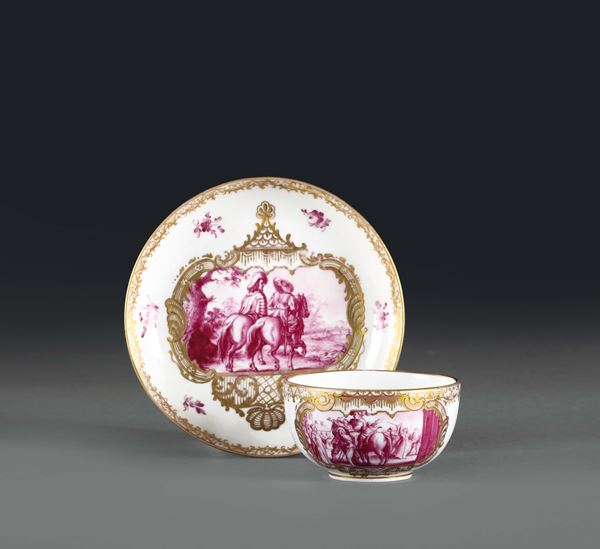 A cup with plate. Likely from Germany, Meissen imitation, beginning of the 20th century