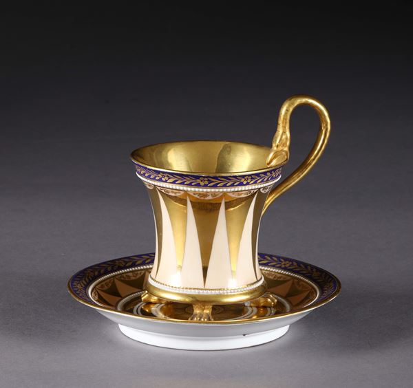 A cup with plate. Berlin KPM, 1830-1840