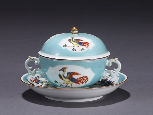 A broth bowl with a plate. Meissen, 1740 ca.