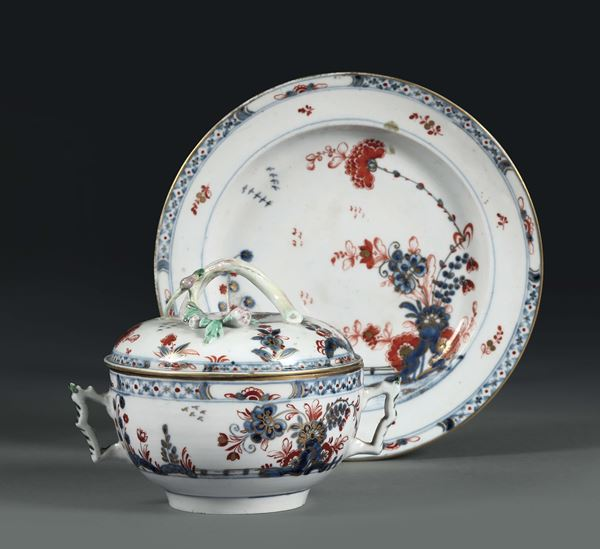 A broth bowl with plate. Venice, Cozzi manufacture, 1775 ca.