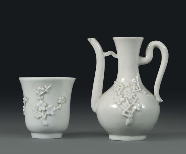 A teapot and a cup in Blanc de Chine porcelain, China, Qing dynasty, 18th century