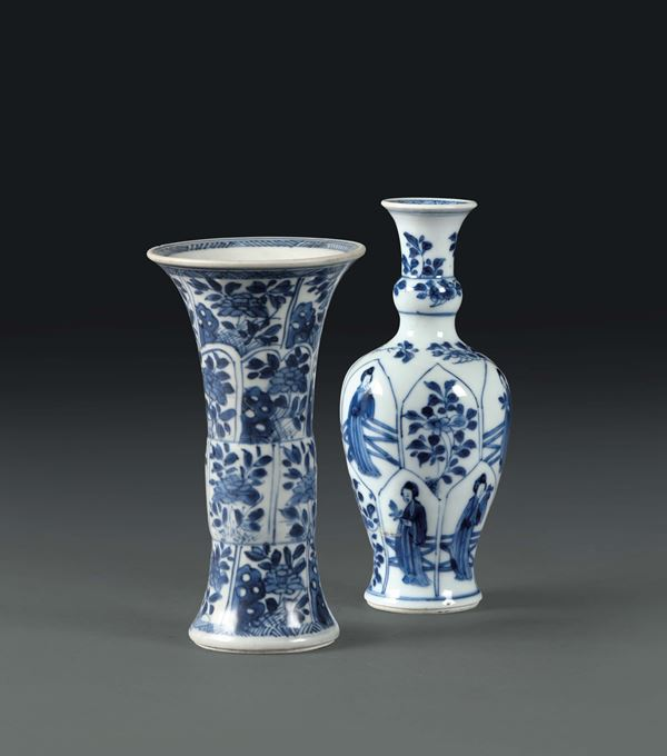 A white and blue trumpet vase and a small vase, China Qing dynasty 18th century