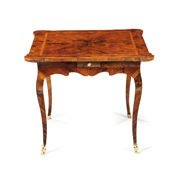 A Louis XV game table, veneered in rosewood and inlaid with a clover pattern, Genoa 18th century