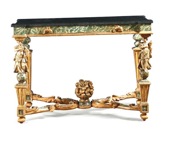 A pair of console tables, gilt and lacquered in false marble, Marche 18th century