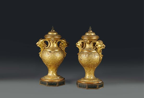 A pair of vases in gilt wood and pastework, Florence 19th century