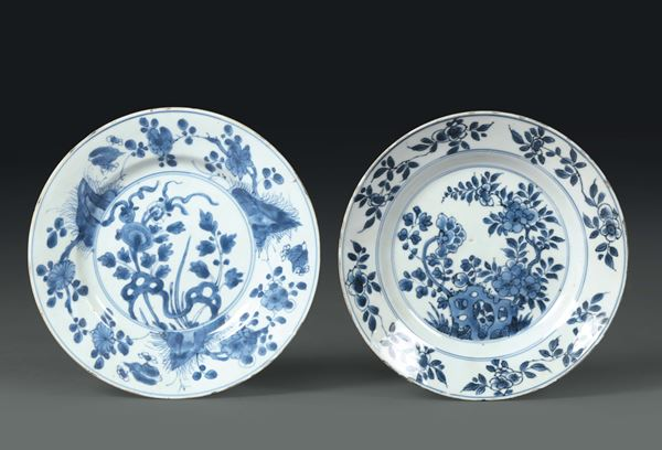 Two porcelain plates with a white and blue decoration, China 18th century
