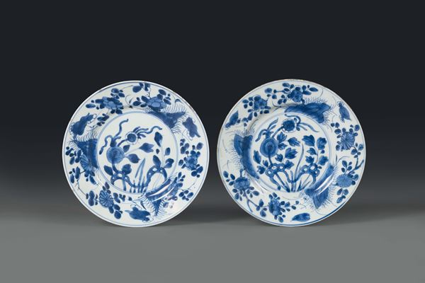 Two porcelain plates with a white and blue plant decoration, China, Qing dynasty, 18th century