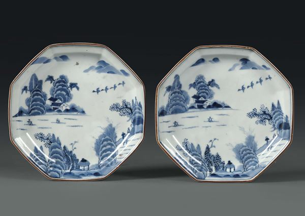 A pair of octagonal porcelain plates, China, Qing dynasty, 18th century