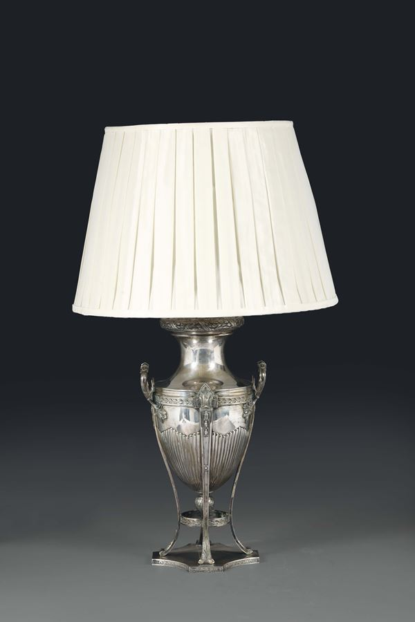 A lamp in molten, embossed and chiselled silver, Germany