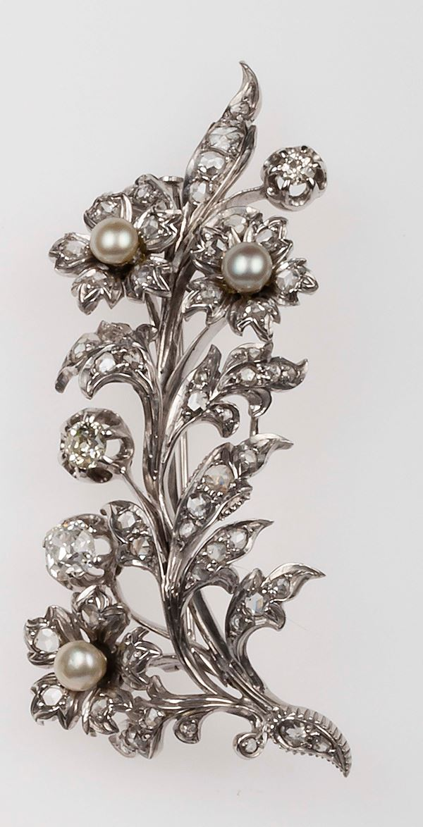 Old-cut diamond, cultured pearl and gold brooch