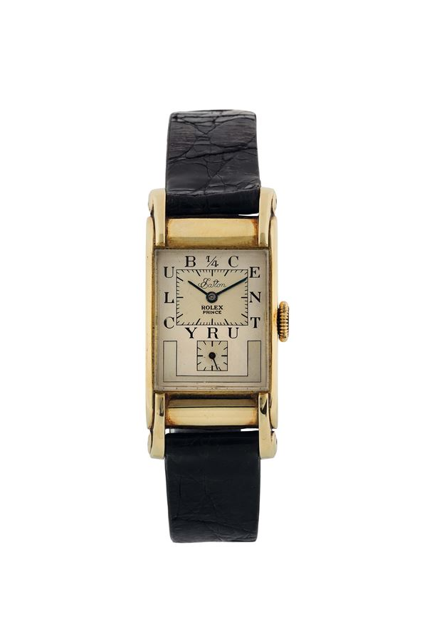 ROLEX, Prince, Eaton-Century Club, case No. 547806, Ref. 3937. Very fine and rare, rectangular curved, 14K yellow gold wristwatch with steel Rolex buckle. Made circa 1940 for presentation to an employee of the T. Eaton Co., for 25 years of continuous service.