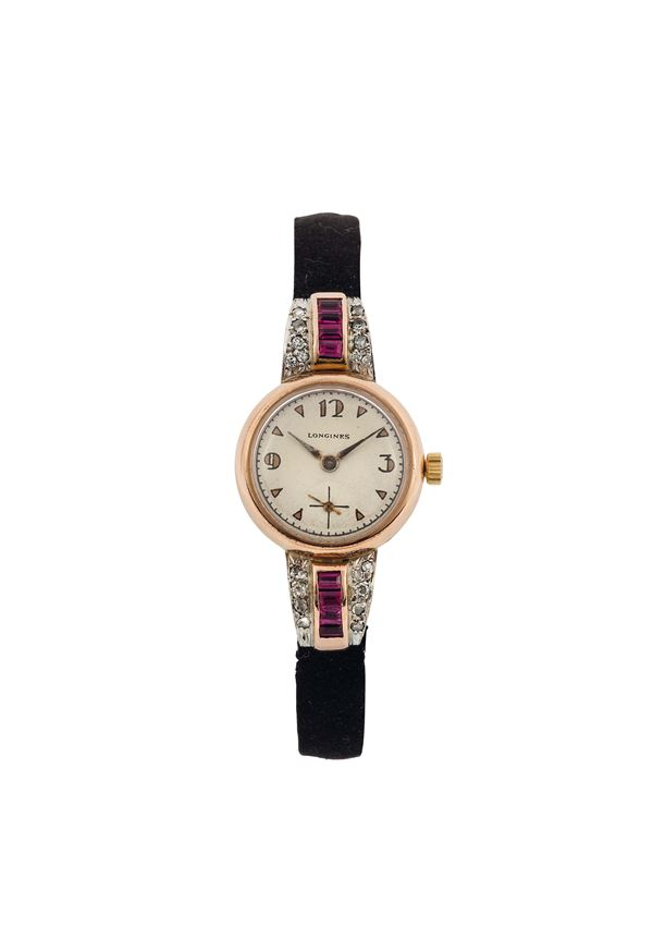LONGINES, fine and elegant, 18K pink gold lady's wristwatch with ruby and diamonds. Made circa 1920