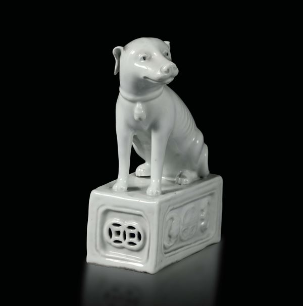 A small dog in Blanc de Chine porcelain, China, Qing dynasty 19th century
